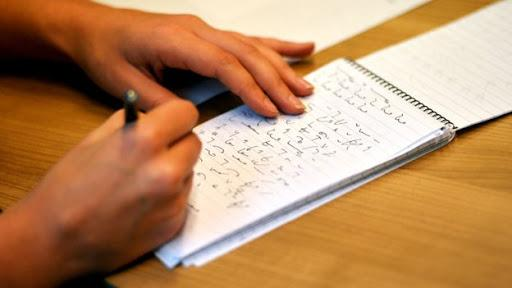shorthand writing in paper
